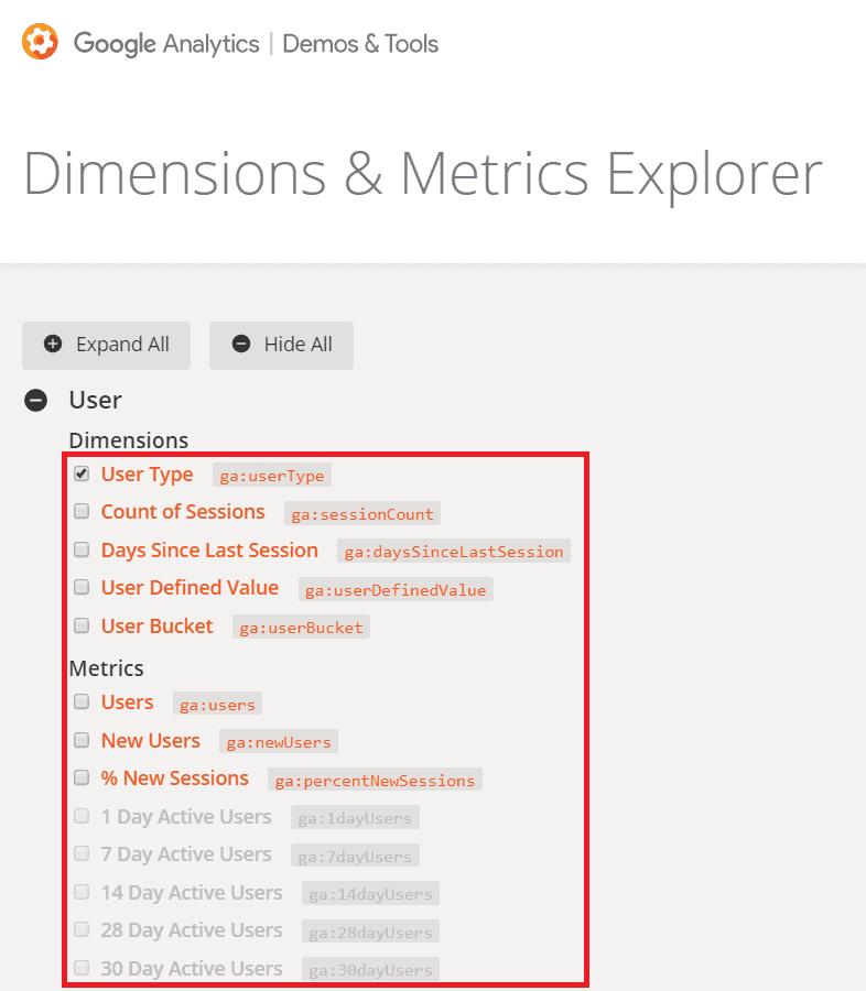 dimensions and metrics explorer
