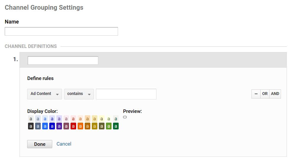 google analytics custom channel groupings