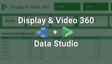 display and video 360 and data studio logos and text