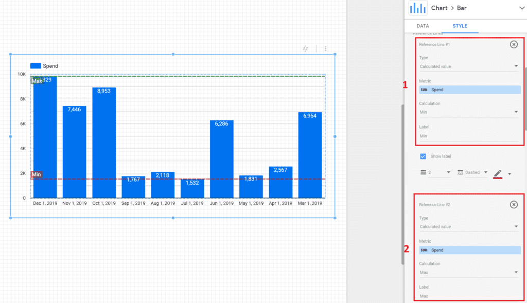 reference lines for benchmarks and sales targets in google data studio, max and min setup