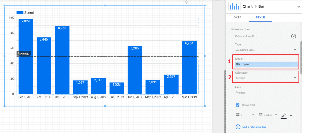 reference lines for benchmarks and sales targets in google data studio, average calculation setup