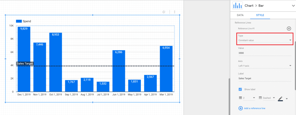 reference lines for in google data studio as constant value
