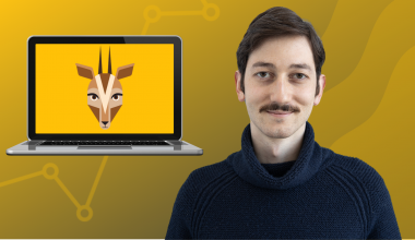 oribi analytics company logo and person on the right side